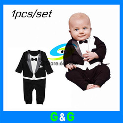 Free Shipping 2013 Retail Baby Romper, baby boy's Gentleman modelling romper infant long sleeve climb clothes kids outwear(China (Mainland))