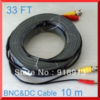 33FT Feet / 10m CCTV BNC Video/Power Output Cable for Security Cameras DVR System+Free shipping + Wholesale
