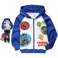 New arrivals free shipping Boys spring and autumn clothing cartoon THOMAS 100% cotton sweatshirt cardigan jacket