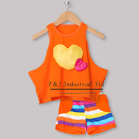 Wholesale New Kids Clothing Set Sleeveless Love T Shirt And Cotton Pants Infant Wear Children Clothing CS30301-16^^EI