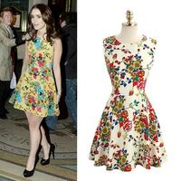 2014 New Summer Sexy Vintage Women's Sleeveless Print Plus Size Vest Dress Europe Style Slim Chiffon Dresses 126036
