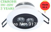 AC85-265V 50/60Hz 3W/5W/7W/9W/12W/15W led ceiling spot light,CE& ROH,50pcs/lot, led down lighting,2 years warranty,free shipping