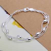 Wholesale 925 Silver Bracelets & Bangles,925 Silver Fashion Jewelry Three-wire light bead Bracelet Free Shipping SMTH236