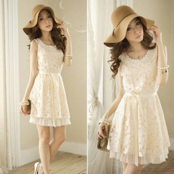 Summer Fashion New 2014 Women's Clothing Sleeveless Floral Beading Chiffon Lace Sweet Casual Sundress Ladies Mini Dress 0190