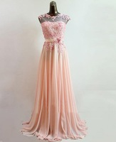 E0349 Sheer straps elegant chiffon evening dresses long