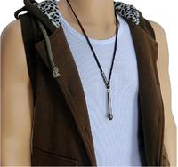 (Min order $10USD) Microphone Pendant Men Woman Pendant Necklace Rock Punk Design Real Leather Necklace Chain