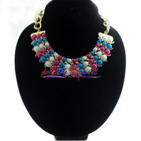 2013 Newest Bib Necklace,Fashion 3 Row Beads Chunky Necklace with 18K Gold Plated Chain For Pary MYN001