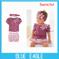 2013 free shipping  Hot selling Purple baby girl 3-piece set: bowknot headband + shirt + floral printed shorts Purple clothing
