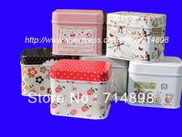 Polka dot plain oblong box storage tin box 6 design for your choice