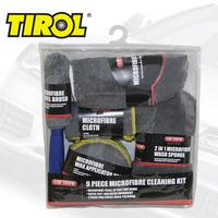 T16360a 9 PCS Microfibre Cleaning Kit: 3*Cloths,3*Wax Applicator Pads,2 In 1 Wash Sponge,Wash Mitt,Wheel Brush FreeShipping
