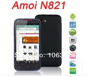 free Shipping Original Amoi N821 MTK6577 dual core  Phone Andriod 4.0 Smartphone 1GB CPU 4.5 inch IPS Screen 8MP Russian menu