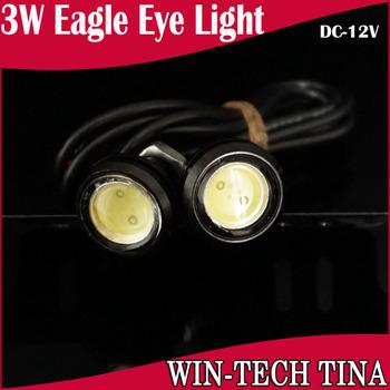 4PCS 3W Black LED Car Reversing Eagle Eye White Red Green DRL Light   Waterproof 12V High Brightness Free Shipping