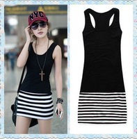 2014 patchwork stripe Sweet woman slim 100% cotton slim hip skirt basic skirt medium-long strap tank dress