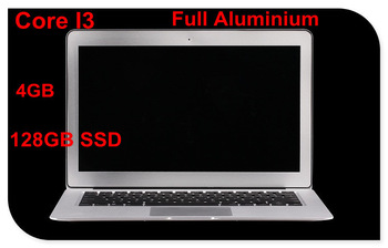 "13.3"" laptop computer with Intel Core I3 CPU aluminium ultrabook laptop with 4GB ram 128GB SSD  bluetooth webcam"