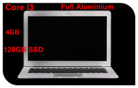 "13.3"" laptop computer Intel Core I3 3217U 4GB ram 128GB SSD aluminium ultrabook laptop free shipping"