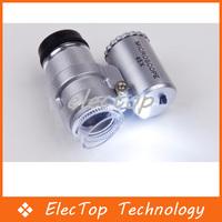 Free shipping Mini 45X Jeweler Loupe Magnifier Microscope LED Light 100pcs/lot Wholesale