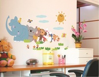 FREE SHIPPING  Sun Elephant and Bear and Monkey+Rabbit+Penguin+Mouse Kids Room Wall Stickers Home Decor