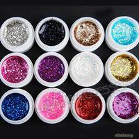 New Design 1 set/lot  Glitter UV Gel Gold Dust Builder Nail Art Tips Design Nail Art  Set  DIY 600251