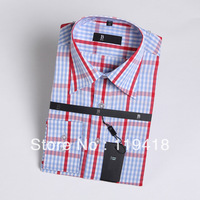 2013 Free shipping new items men's plaid shirt shirts for men mens designer shirts long sleeve skyblue slim fit s-xxxl