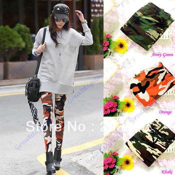 D19+Fashion Womens Retro Camouflage Graffiti Pattern Pull On Leggings Pant 3 Colors