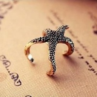 New Hot Top Selling Vintage Punk Style Personality Lovely Exaggeration starfish ring All Match Animal Accessories Jewelry K42