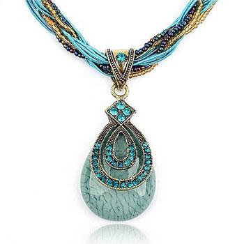 Ethnic Mediterranean Bohemian Style Retro Vintage Beads Hollow Flower Crystal Rhinestone Water Drop Necklaces Pendants for Women