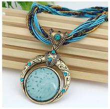 Love in Mediterranean Bohemian Style Opal Custume  Jewelry Rope Necklace Women Accessories