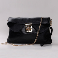 2014 hot New BLACK Leather Handbags Chain Bag Small REAL COWHIDE Shoulder BAG Diagonal CLUTCH FREE SHIPPING