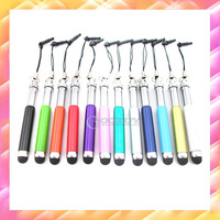 1000pcs Wholesale Universal Logo Retractable Capacitive Soft Stylus Touch Pen for iPhone 3G 4 4S iPad 1 2 The New iPad iPod HTC