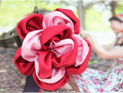 fabric flower hair accessories ponytail holder, free shipping(China (Mainland))