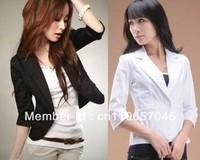 fashion blazer Black or White Blazer Celebrity Design  Stunning Retro Womens Blazer Jackets Half Sleeve