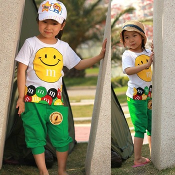 2013 Summer Short Sleeves Children Kids Clothing Boys Girls Cothing Set Smile Design One set Free Shipping