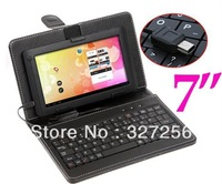 "Free Shipping Protective Leather Case Cover + USB Keyboard for 7 inch 7"" Tablet PC MID Newsmy NewPad T3 T7 Black Color"