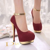 2013 New OL's Sexy Suede Round Toe Platform Ankle Strappy Thin High Heel Wedding Shoes Fashion Bridal Pumps X156