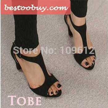 2014 Hot vendas moda feminina sapatos saltos de espessura média peep toe T amarrado sexy senhora mais o tamanho 34-43 grátis frete