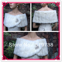 2013 Free Shipping Custom Made Bridal Shawls Wedding Jackets Wrap White Fur Stole