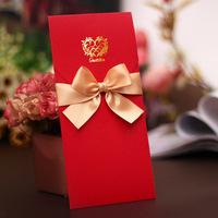 Graceful chinese red an gold ribbon free customization wedding invitations/invites/wedding card/ wedding supplies TD01