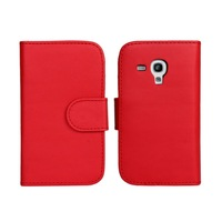 PU Wallet Leather Case For Samsung Galaxy  S3 Mini  i8190 with Black,White,Red,Pink,Sky Blue + Free Shipping