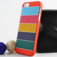 Freeshipping Wholesale 10Pcs Per Lot PC Suede Hard Case For Iphone 5 With Five Mixed Colors On Back