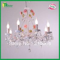 Free Shiping  E14*6 lighting K9 Crystal Chandelier decorative rose flower pink ceramic hanging living room dinner room celling