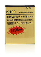 free  DHL shipping     100pcs/lot    Gold) 2450mAh Rechargeable Lithium-ion Battery For Samsung Galaxy SII S2 i9100