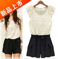 Freeshipping new 2013 Korean  short sleeve lace plus size hakamas chiffon one-piece free belt denim pants silk casual dress
