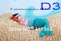 free shipping, 1sets/lot Custom crochet baby girl mermaid tail top and headband set photo prop 0-6month