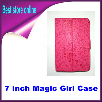 1 Piece Free Shipping Universal 7 inch Magic Girl Leather Flip Case Cover PC Tablet for Ainol Teclast Icoo Ampe Onda Cube Ployer