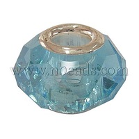 Glass European Beads,  Large Hole Beads,  Aqua,  Brass Core in Silver Color,  about 14~15mm wide,  9mm long,  hole: 4.5mm