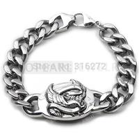 Topearl Jewelry Eagle Stainless Steel Men's Biker Curb Cuban Bracelet MEB119