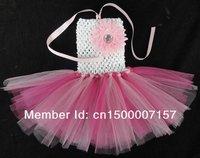 Pretty Girl Handmade Tutu Dress Baby Princess Fluffy Chiffon Tutus Girls Dress with Flower 6pcs/lot 17 Colors, Free Shipping