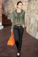 New Arrival Women's Fashion Slim Blouses Turn-down Collar Puff Sleeve Cotton Shirt WSH-004