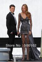 2013 Sexy Zuhair Muard Sheath V Neck Appliqued Panel Long Sleeve Sheath Minin Inside Long Train Lady Dresses