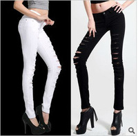 2014 Free Shipping Hot Sale New Arrival Fashion Design Women Skinny Ripped Jeans W070